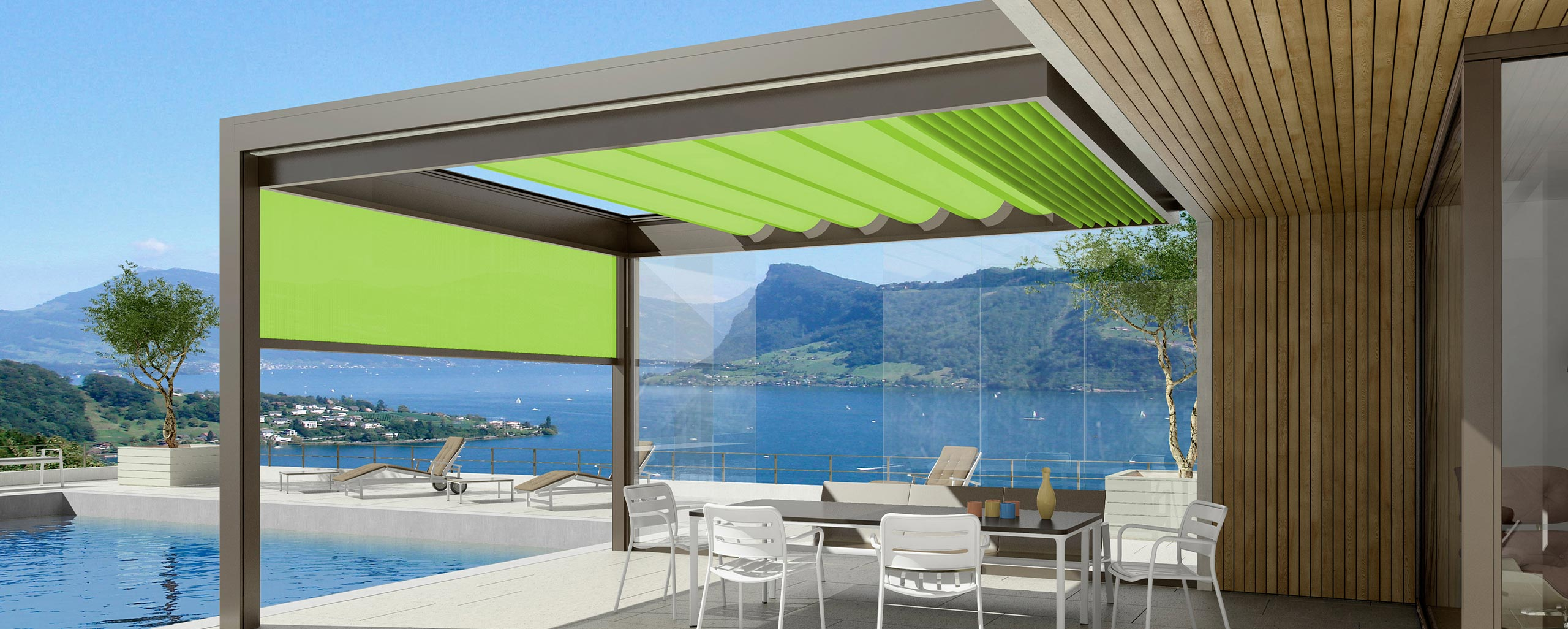 Glasdachbeschattung mit Sonnenmarkise von Leiner oder Klaiber bei BWE in Unterschleißheim.
