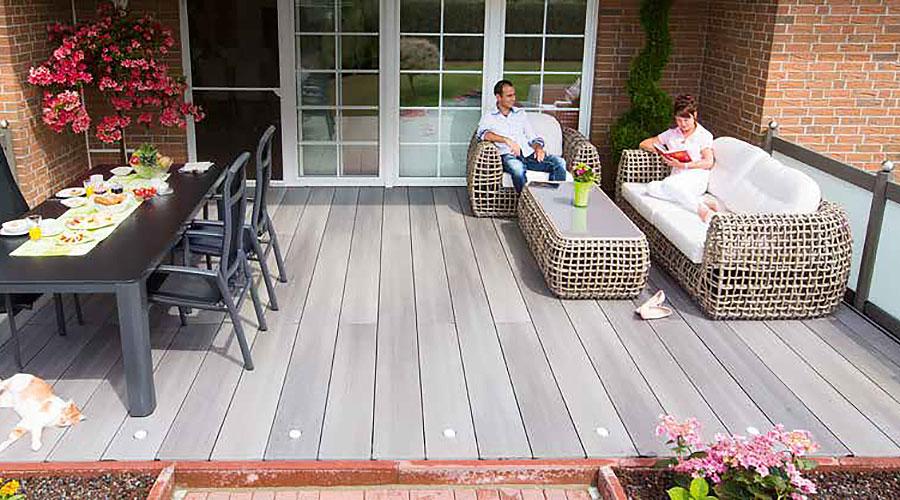 Stimmungsaufnahme WPC Terrassendielen grau   BWE, Unterschleißheim